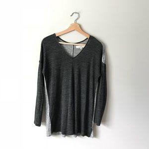 Ann Taylor Loft Knit Top Gray Tee XS